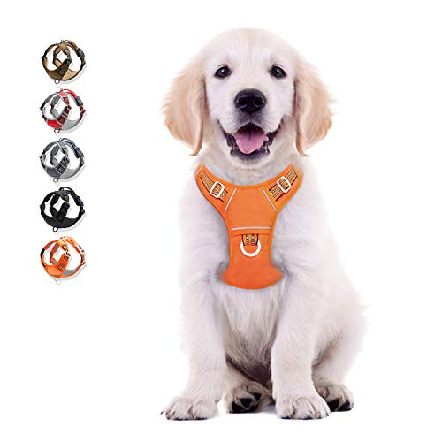 Dog Harness No Pull Reflective, WALKTOFINE Comfortable Harness with Handle,Fully Adjustable Pet Leash Vest for Small Medium Large Dog Breed Car Seat Harness Orange S