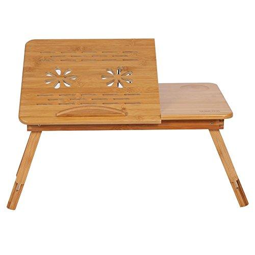 Zoternen Escritorio de Cama Portátil Ajustable 30 x 50 x 20cm Multifunción Mesa de Bambú de Cama...