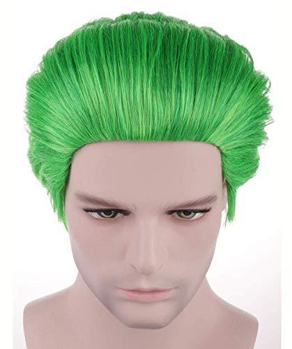 Rzf Joker Cosplay Groen Korte Haarstukje Pruik natuurlijke hittevriendelijke synthetische haar Modieuze Verstelbare ventilatie Dazzling Halloween Cosplay Pruik