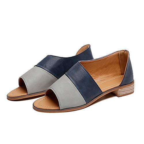 Damen-Sandalen mit niedrigem Absatz und flachem Fußgelenkriemen, offene Zehenpartie - Blau - 40.5 DE