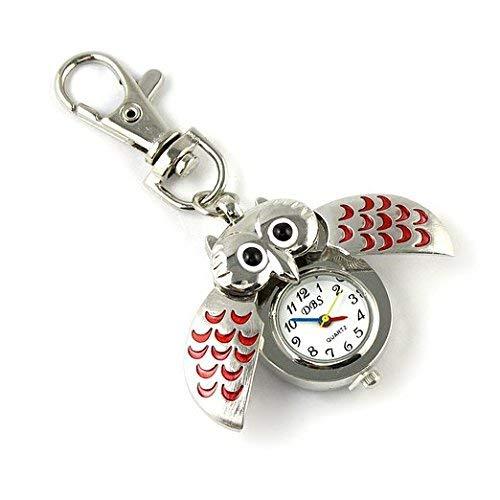 PULABO dauerhaft1 Stücke Nette Eulenform Uhr Schlüsselbund Beauty Design Hängen Ornament Schlüsselbund Geldbörse Tasche Anhänger Schlüssel Praktisch und Beliebt