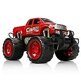 com-four Camión Monstruo XL, vehículo de Cuerda para niños, Coche de Juguete Grande con Motor de fricción, Muy Divertido sin Electricidad (Rojo)