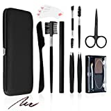 Eyebrow Razor Tweezers Kit with Eyebrow powder, Liaboe 10 in 1 Eyebrow Set include Slant Flat Tip Tweezers, Razor, Scissors, Brush, Comb, Eyebrow Pen for Eyebrows Plucking, Trimming