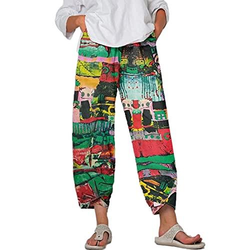 Ropa de cama de algodón casual para mujer, pantalones de yoga con pierna ancha y cintura elástica, verde, L