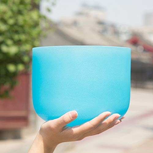 PQXOER Klangschalen Tibetisch-Quarz-Kristall-Klangschale G Hinweis Halschakra for Yoga Meditation Healing Mindfulness Tibetische Klangschalen (Color : Blue, Size : 10 Inch)