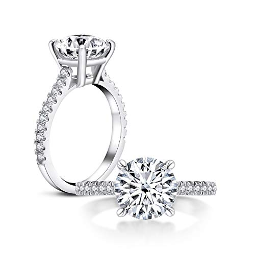AINUOSHI 3 Carat Round Cut Cubic Zirconia Ring 925 Sterling Silver High Setting Women Wedding Engagement Rings (7.5)