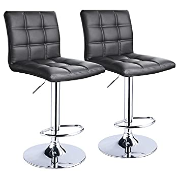 Modern Square PU Leather Adjustable Bar Stools with Back,Set of 2,Counter Height Swivel Stool by Leopard  Black