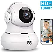Indoor Security Camera, Littlelf 1080P Baby Pet Wireless WiFi IP Camera for Dog/Elder Monitor with Motion Detection & Tracking, 2-Way Audio, Night Vision and Cloud Storage (White)
