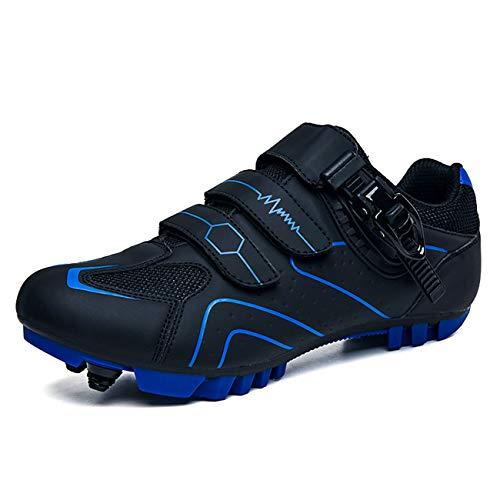 [CUNGE] サイクルシューズ MTB 自転車 マウンテンバイク SPD対応 バイク 靴 バックル ベルクロ 通気性 滑りにくサイクルシューズ メンズ用&レディーズ用 初心者(ブラックブルー,27.0cm)