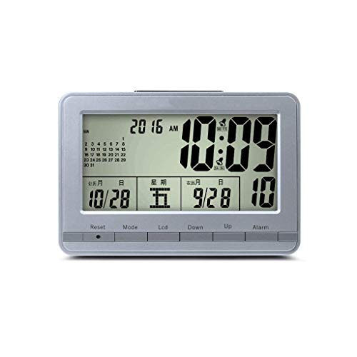 Luz nocturna analógica Reloj despertador silencios Despertador inteligente multifuncional del calendario electrónico, reloj de escritorio de la oficina LED Escritorio Reloj ruidoso fácil de configurar