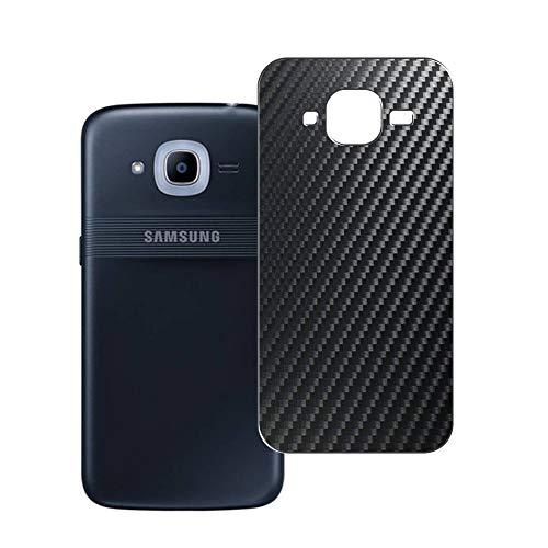 Vaxson 2 Unidades Protector de pantalla Posterior, compatible con Samsung Galaxy J2 Pro (2016), Película Protectora Espalda Skin Cover - Fibra de Carbono Negro