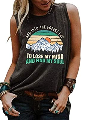 Womens Hiking Funny Graphic Muscle Tank Tops and Into The Forest I Go to Lose My Mind and Find My Soul T Shirt (Large, Dark Grey)