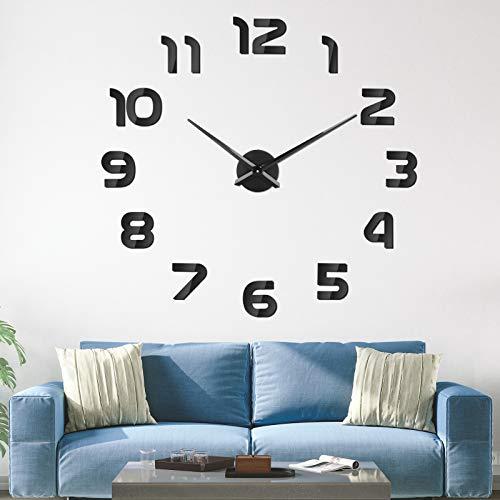 SOLEDI Reloj de Pared 3D DIY Reloj de Etiqueta de Pared Decoración Ideal para la Casa Oficina Hotel Restaurante, Negro