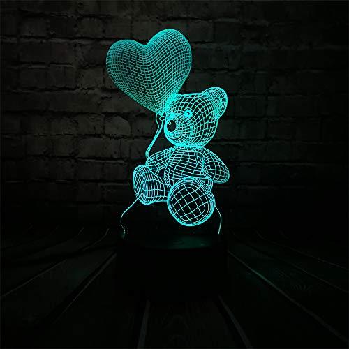 Nachtlichter Baby Teddybär Hause Liebe Herz Luftballon 3D Usb Led Nacht Tischlampe Licht Home Home Home Home Home Home Home Kinder Spielzeug Weihnachten Gif T By My Side