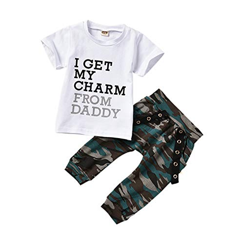 T TALENTBABY Lot de 2 chemises à manches courtes avec imprimé « I Get My Charm from Daddy » + pantalon long camouflage 0-24 m - Blanc - 6-12 mois