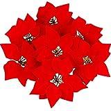 NYKKOLA 20,3cm Artificielle Poinsettia Floral Têtes Décorations de Noël pour Noël Maison Porte Avant Couronne centres Arrangements Table 50pcs