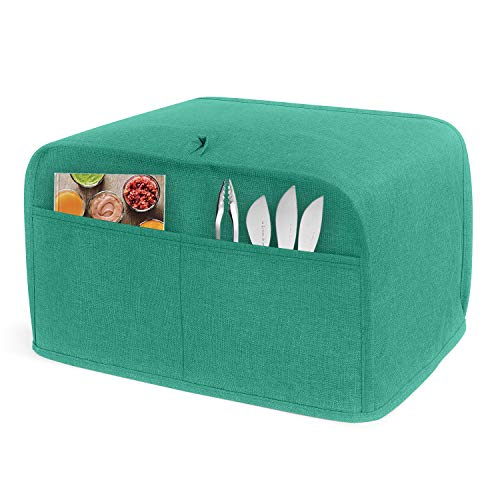 LUXJA 4 Slice Toaster Cover (12.5 x 10 x 8 inches), Toaster Cover with 2 Pockets (Fits for Most Major 4 Slice Toasters), Green