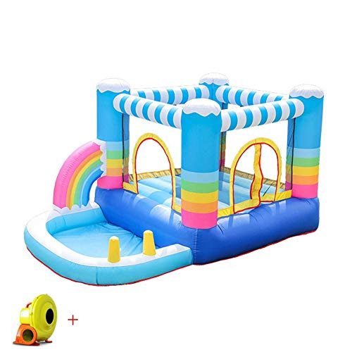 Pool Rainbow Bouncy Castle Inflatable Children Trampoline Outdoor Activity Play Center House Jumper Water Slide Combo? Garden Oxford Cloth Material 290X200X155cm Summer