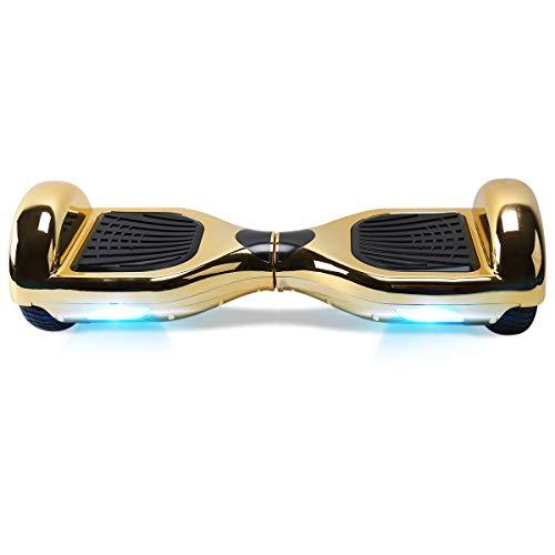 TOEU - Patinete Eléctrico Hoverboard, Ruedas de 6.5', Leds, Potente batería de Litio, Bluetooth, Self Balancing, monopatín eléctrico Auto-Equilibrio (ChromeGold-Bluetooth)
