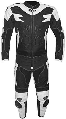 BI ESSE Tuta da MOTO per adulto in pelle e tessuto, divisibile in 2 pezzi giacca e pantalone, regolabile, completa di protezioni CE (Bianco / Nero, M)