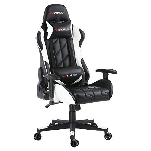GTFORCE PRO GT - Gaming-Stuhl für E-Sport und Rennspiele - PC-Stuhl für das Büro - Liegepositionen - Kunstleder - Weiß