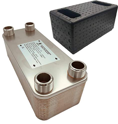 Nordic Tec Intercambiador de calor de placas de acero inoxidable Ba-32-30, 1 pulgada, 30 placas, 175 kW, con aislamiento