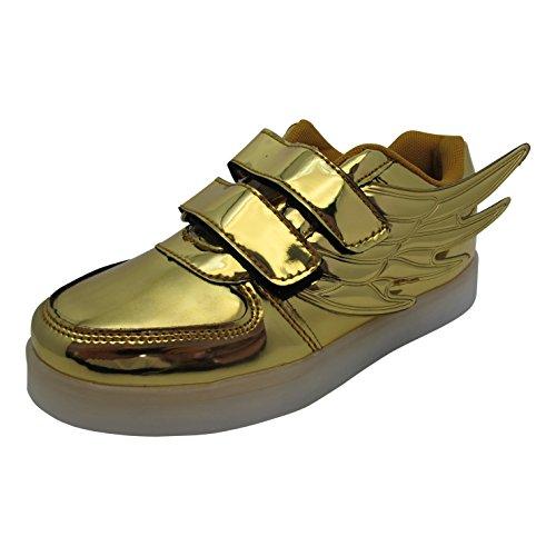 Bling-Bling LED-skor – sportsneakers med sju lysande sula – unisex sneakers med USB-anslutning för laddning – för barn – storlek 30–36, - Guld - 33 EU