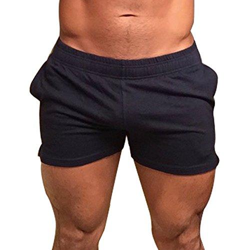 Muscle Alive Herren training shorts mit taschen für französisch terry cotton 3 5 7 zoll bodybuilding bekleidung l: taille 34 '' - 37 '' schwarz (3