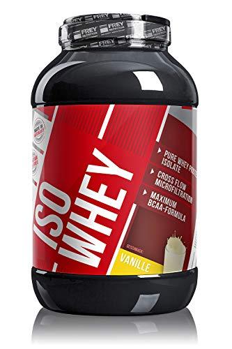 FREY Nutrition ISO WHEY (Vanille, 2300 g) Trägt zur Muskelzunahme und zum Muskelerhalt bei, Natriumarm, laktose- und zuckerfrei, Über 25% iger BCAA-Anteil, Low Fat   Low Sugar (< 1 g), Made in Germany