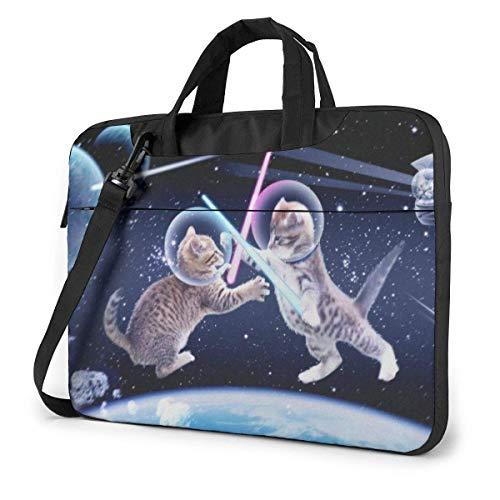 Space Funny Kitten Cats 15.6 in Laptop Bag Computer Protective Cover Handbag Shoulder Bag