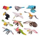 FLORMOON Figure di Uccelli 12pcs Realistico cercando Animali Giocattoli Set Giocattoli di plastica per Animali Giocattoli di Uccelli Artificiali Figure Giocattoli educativi per Bambini per Ragazze