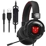 Auriculares Gaming,GAKOV Cascos Gaming con Reducción de Sonido y Control de Volumen Gaming Headset con Conector Jack 3.5mm y Luces led,para PS4/PC/Xbox One/Mac