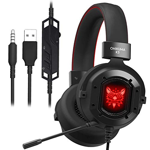 GAKOV Gaming Headset, GAK3 HD Klarschlauch Mikrofon Gaming Kopfhörer mit 40mm Super Bass Lautsprechern, Cooles RGB Licht, Metall Eisengewebe, Soft Memory Ohrenschützer für Laptop/Mac/Computer/PS4
