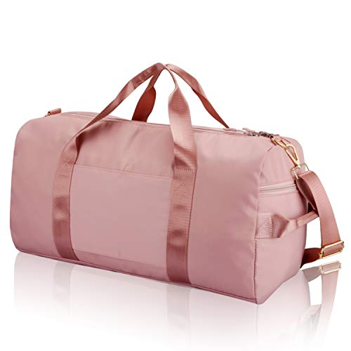 Gym Sports Duffle Bag - Waterproof Travel Duffel Bag with Wet Pocket and Shoes Compartment Overnight Weekender Bag for Women and Men (PINK)