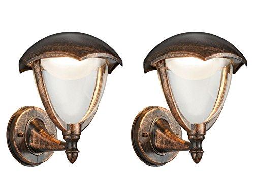 Set van 2 LED-buitenwandlampen lantaarn GRACHT roestkleurig antiek, buitenverlichting, Trio lampen