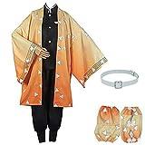Demon Slayer Cosplay Costume Agatsuma Zenitsu Cosplay Kimono Outfit Anime Cosplay Halloween (L, Agatsuma Zenitsu)