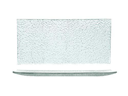 H&H 41477 Gocce-Juego de 6 Platos rectangulares, Cristal, 33 x 16 cm, Vidrio