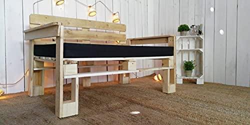 Sofa de palets para Jardin, Patio, Balcon, Terraza - Muebles con palets de Madera - Sillones con palets, Asientos de pallets, Sillas de palets Semi Europeos (80x80x40cm, Madera Barnizada)
