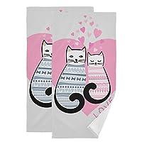 FengJu タオル 2枚セット バスタオル 大判 厚手 マイクロファイバー バスタオル 肌触り抜群 ふわふわ 家庭用 ホテル スポーツ 快適 オオカミ Love Cat Kitten 猫柄 にゃんこ ハート