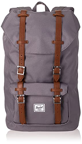 Herschel Little America Laptop Backpack, Grey/Tan Synthetic Leather, Classic 25.0L
