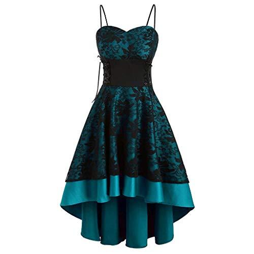 Women's Vintage Spaghetti Straps Dress Off Shoulder Hi-Lo Floral Lace Bandage Corset Cocktail Dress Blue