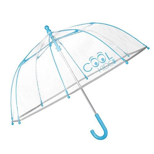 PERLETTI Paraguas Transparente Niño Niña Turquesa - Paraguas Infantil de Burbuja y Ribete Reflectante - Resistente Antiviento con Apertura de Seguridad - 3/6 Años - Diámetro 64 cm Cool Kids (Azul)
