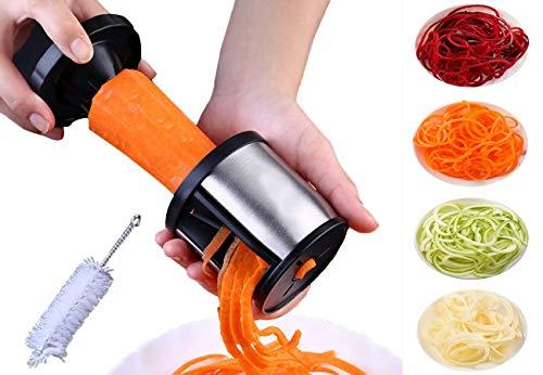 Brosloth handheld vegetable Spiralizer stainless steel original spiral Vegetable Slicer noodle maker Kitchen Gadgets with cleaning brush, black