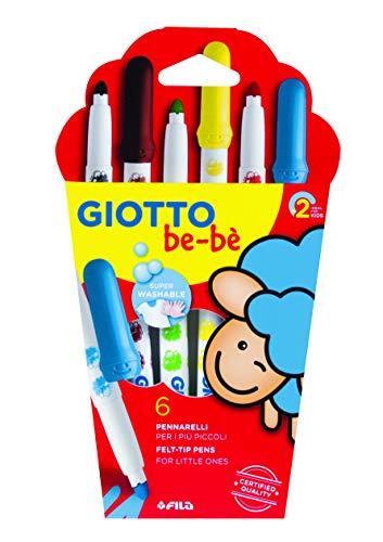Giotto be-bè 466600 - Estuche 6 rotuladores súper lavables, (punta bloqueada, tapón ventilado y capuchón posterior de seguridad)