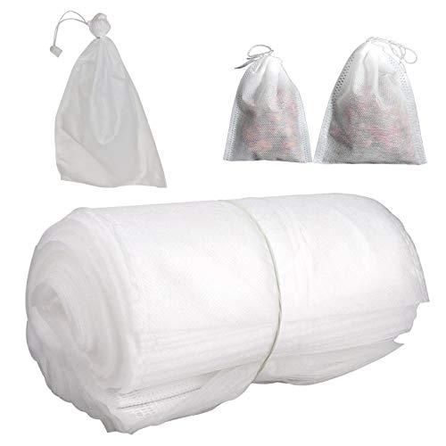 YHNJI 100 sacchetti di protezione per frutta con coulisse, sacchetti per rete da giardino riutilizzabili in tessuto non tessuto, per giardino, mela, uva, mango, pera, frutta e verdura