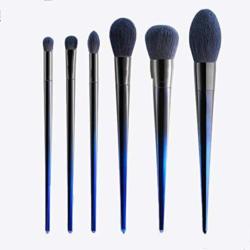 ZYFF huazhuangshua Pinceau de maquillage Six jeux Yeux Visage Poudre libre Points saillants Blush Smudge Beauté Outils de maquillage Pinceau de maquillage dégradé bleu pour les débutants