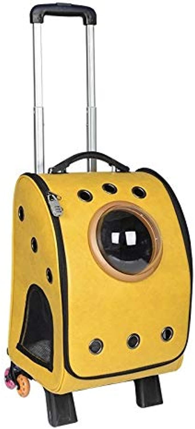 Naozbuyrig Pet Trolley Portable Large Capacity Pet Cat and Dog Space Capsule Bag (color   Yellow, Size   Tie Rod)