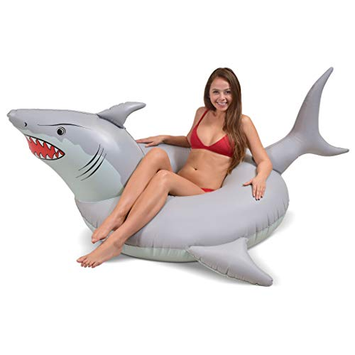 GoFloats 'Great White Bite' Shark Party Tube Inflatable Raft | Fun Pool Float for Adults and Kids, Gray