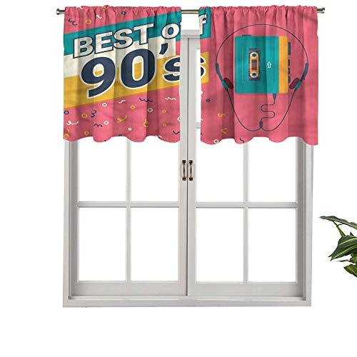 "Hiiiman Elegant Rod Pocket Curtain Valances Best of 90s Cassette Player, Set of 2, 54""x24"" Home Decoration for Boys-Girls Room"
