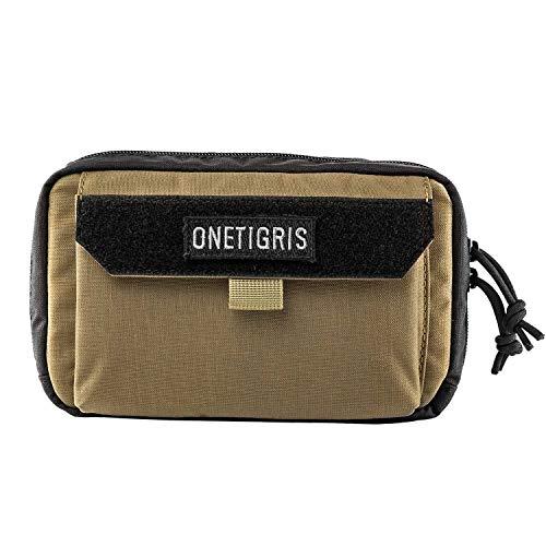 OneTigris Pochette horizontale Molle EDC - Pochette à outils pratique avec poche pour téléphone portable et bandes Velcro pour porte-nom - Emballage multiple